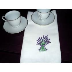 Ścierki kuchenne białe, haft lawenda, 2 szt