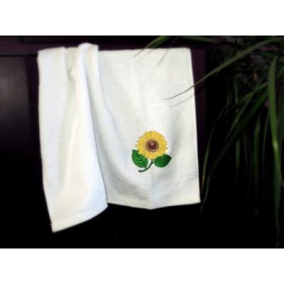 Ręcznik biały haft słonecznik