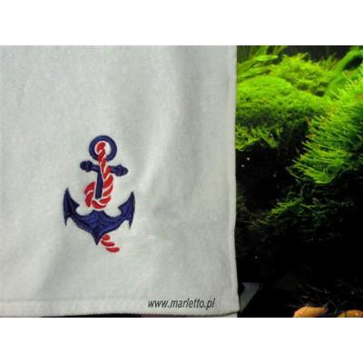 Ręcznik biały haft kotwica 50x90