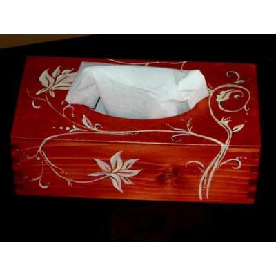 Drewniane pudełko na chusteczki ręcznie malowane