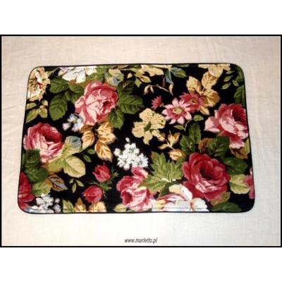 Podkładki na stół lniane, czarne, w kolorowe kwiaty 2 szt