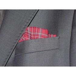 Poszetka męska bawełniana bordowa kratka