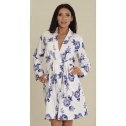 Szlafrok damski kimono niebieskie róże