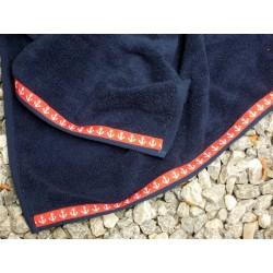 Ręczniki granatowe, kotwica, kpl 3 szt w torbie