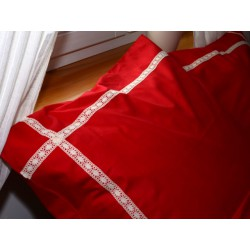 Pościel bawełniana czerwona z koronką 160/200