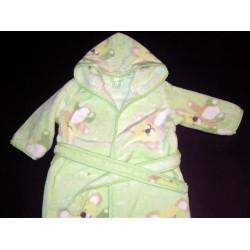 Szlafrok dziecięcy welurowy zielony, misie 80-92