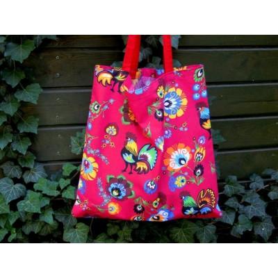 Czerwona torba bawełniana folkowa