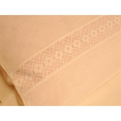 Pościel lniana 160/200 biała z koronką