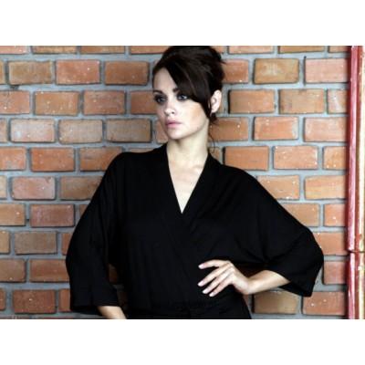 Szlafrok damski kimono,  krótki, letni czarny