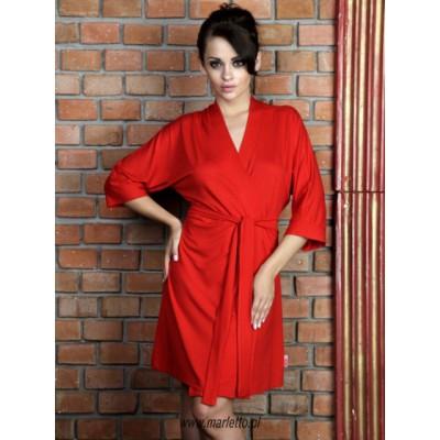 Szlafrok damski kimono,  krótki, letni czerwony
