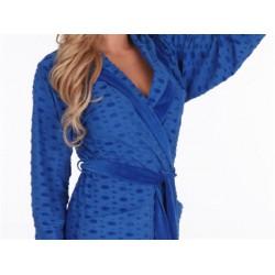 Szlafrok damski niebieski z kapturem, krótki