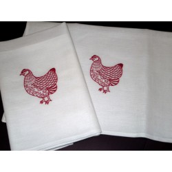 Lniane ścierki kuchenne białe, czerwona kura, 2 szt