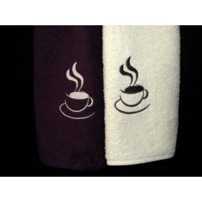 Ręczniki kuchenne frotte, filiżanka,  krem+ brąz