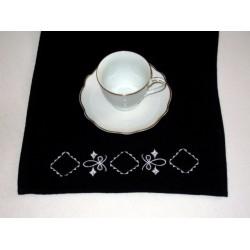 Ręcznik kuchenny frotte, czarny, biały haft
