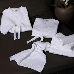 Szlafrok hotelowy gofrowany kimono biały