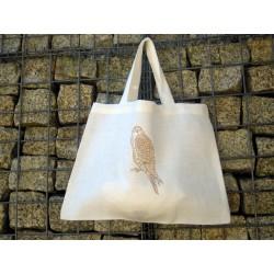 Mała torba lniana biała, sowa
