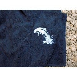 Ręcznik granatowy  70x130 delfin