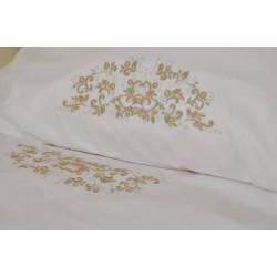 Pościel haftowana 160/200 biała haft beż
