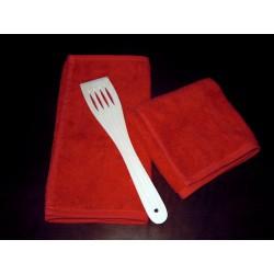 Ręczniki kuchene czerwone 2 szt z łopatką drewnianą