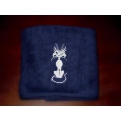 Ręcznik granatowy  70x130 haft kot