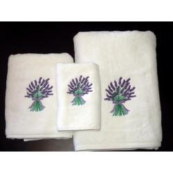 Ręczniki haftowane lawenda