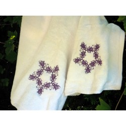 Komplet ręczników, 3 szt, haft fioletowy