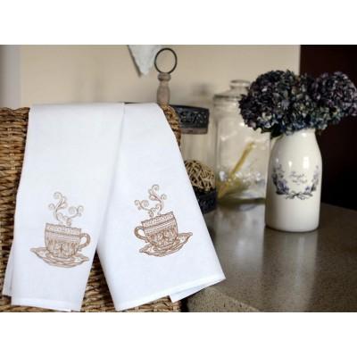 Ścierki kuchenne haftowane filiżanka beż 2szt