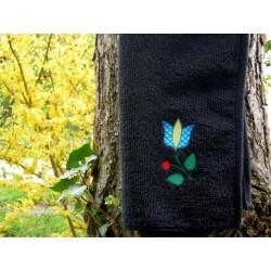 Ręcznik 30x50  czarny z ludowym haftem