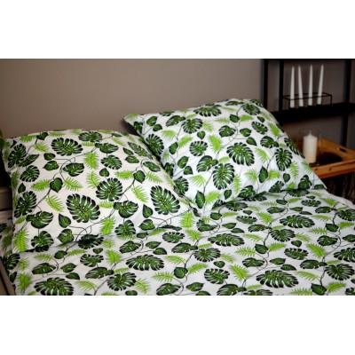 Pościel satynowa 160/200 zielone liście