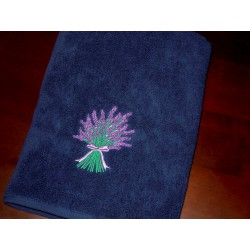 Ręcznik granatowy haft lawenda