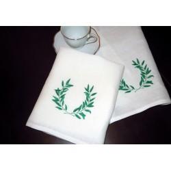 Ścierki kuchenne lniane, haft liść laurowy, 2 szt