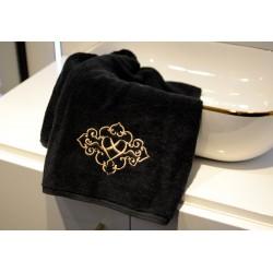 Ręcznik haftowany czarny 50x90